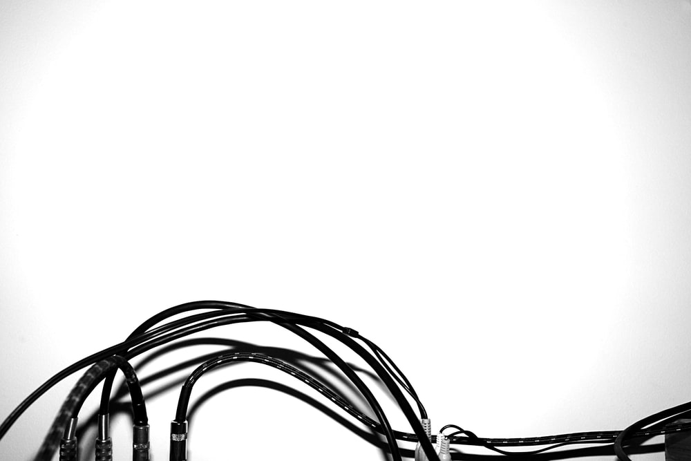 black and white coated wires