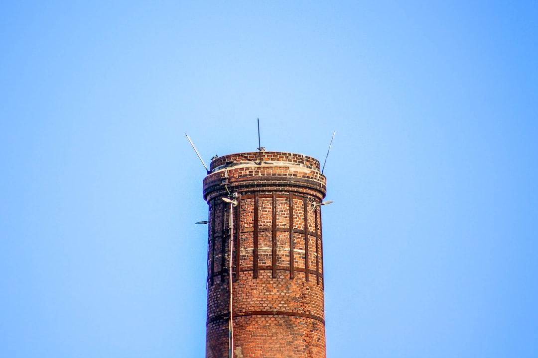 chimney, evacuation, factory, blue sky, column, brick,