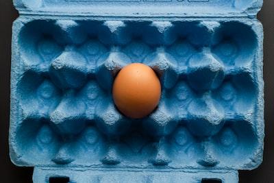 orange fruit on blue surface egg zoom background