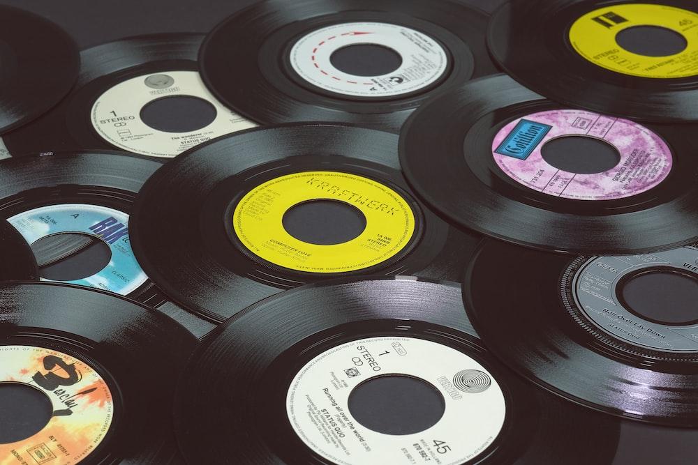 black vinyl record on black vinyl record