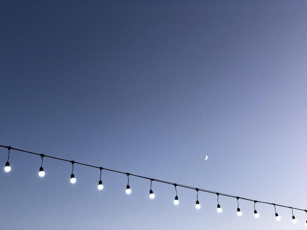 black string lights during night time