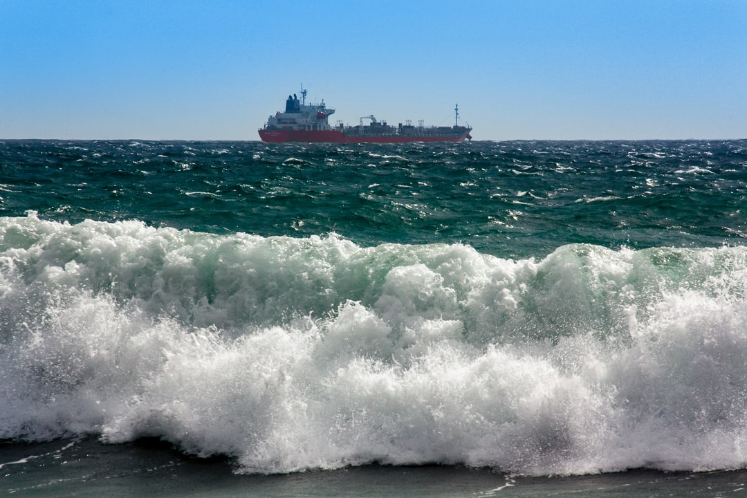 Oil tanker in the rough Mediterranean. Views from the seaside.