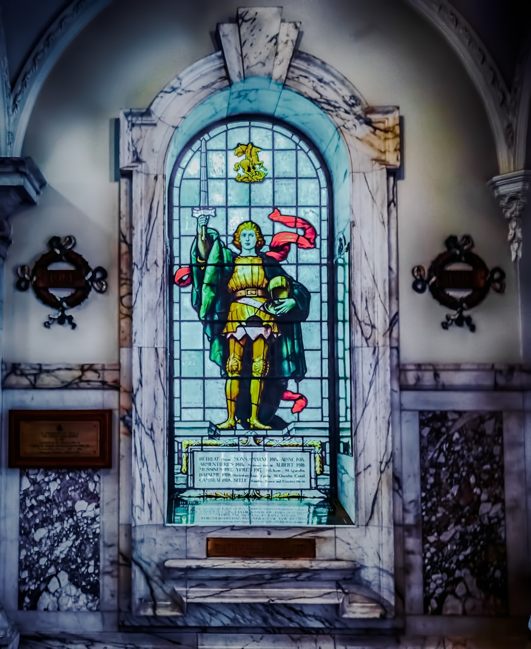 Stained-glass window commemorating the Irish fallen during the great battles of WWI.