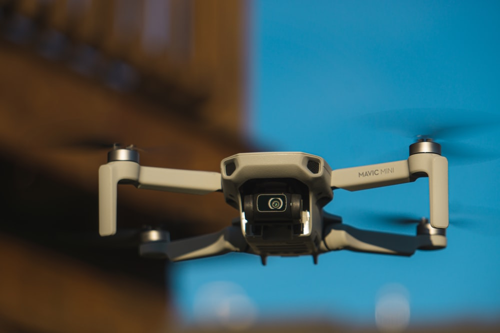 black and gray drone in close up photography