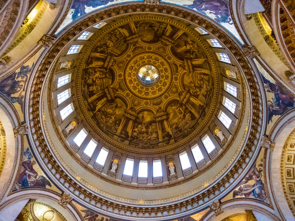 brown and black round ceiling
