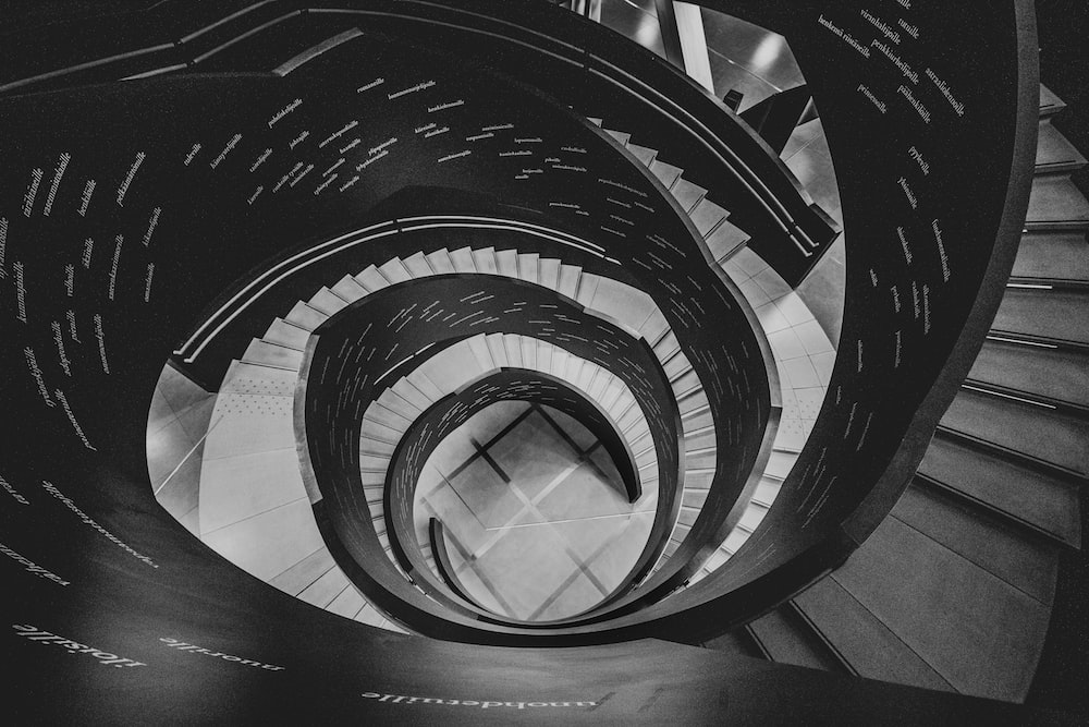 black and white spiral spiral staircase