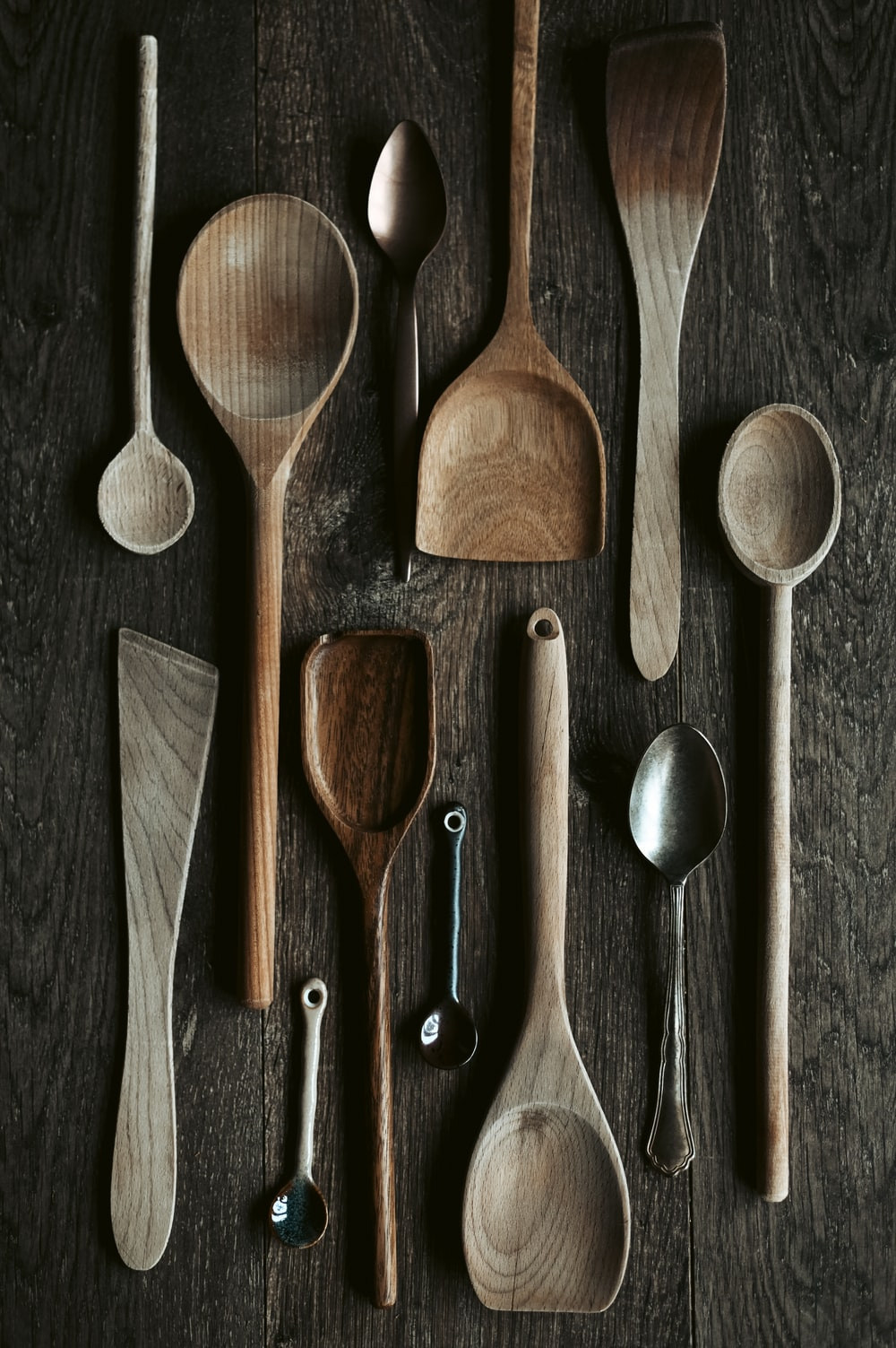 stainless steel spoon and fork