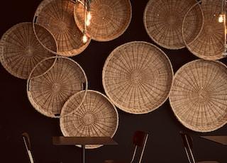 white round paper lantern turned on during night time