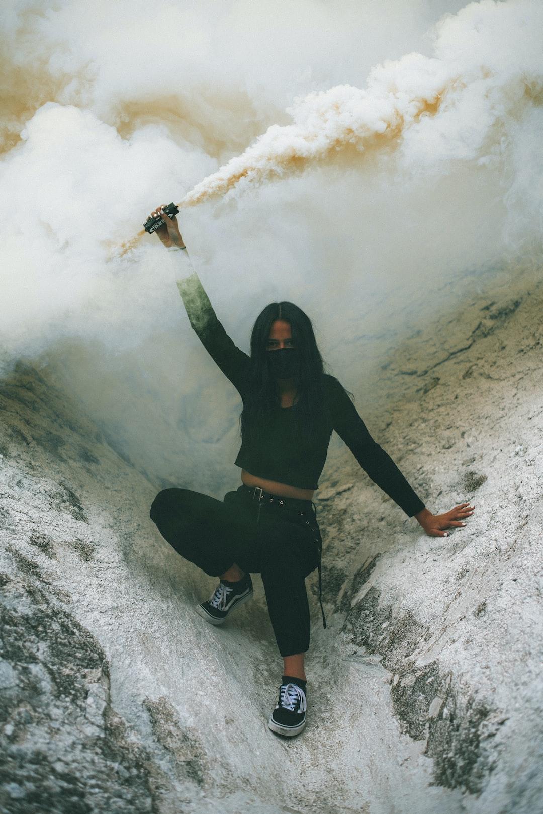 smoke bomb portrait