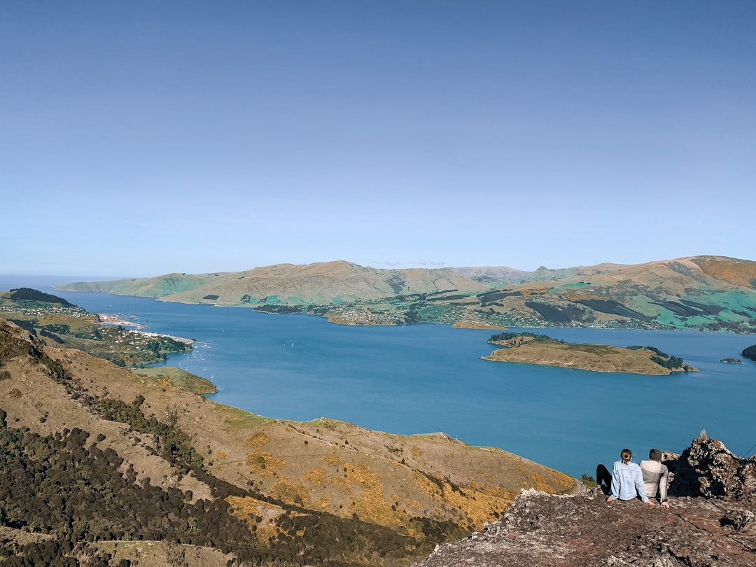 Overlooking Lyttelton port on a sunny day in Christchurch.