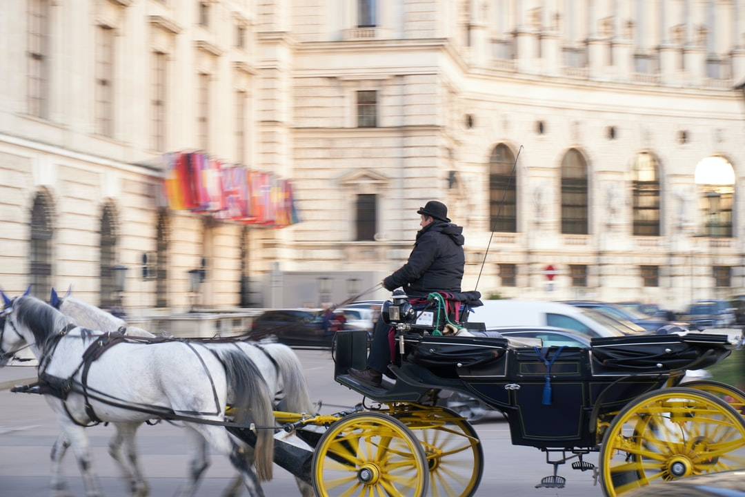 Horse-drawn carriage by a coachman in Vienna streets with yellow wheels