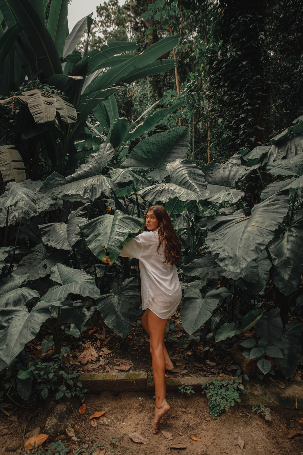 woman in white long sleeve shirt standing in the middle of green leaves