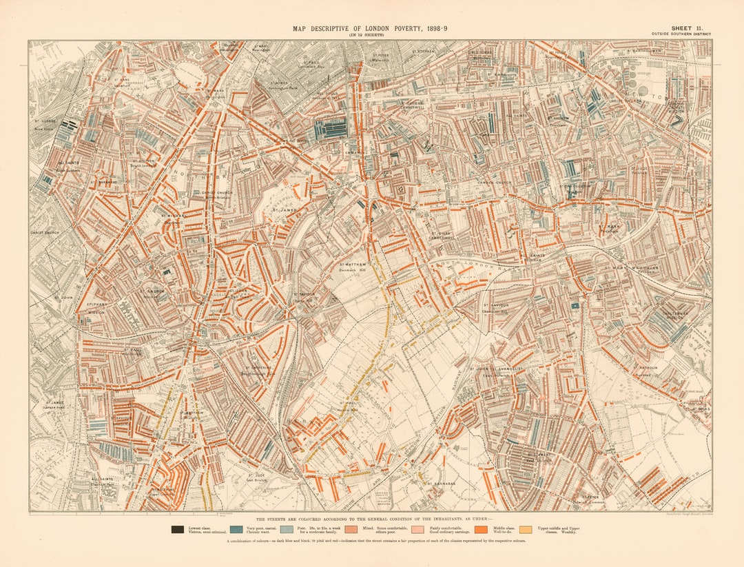 London Poverty Map, 1898-9. Sheet 11: outside southern district.