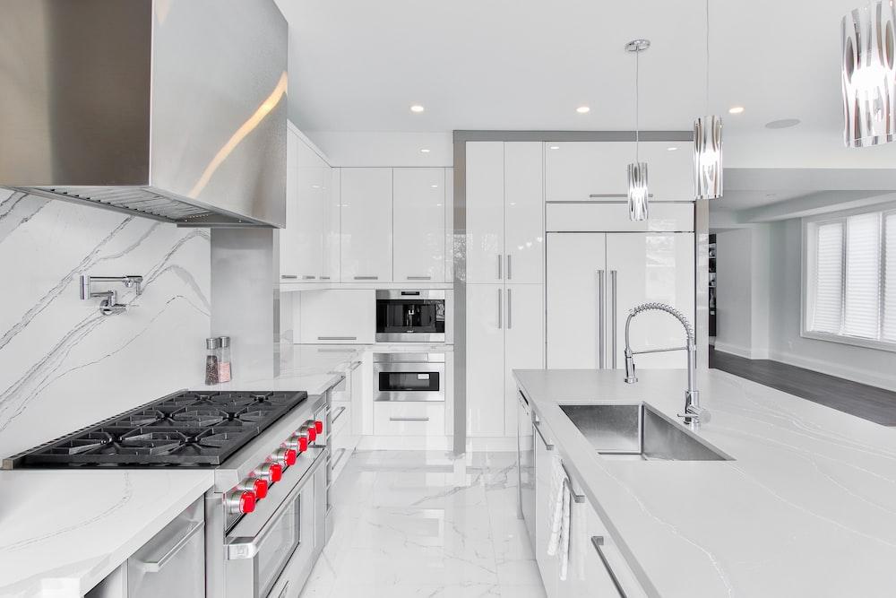 white and black kitchen cabinet