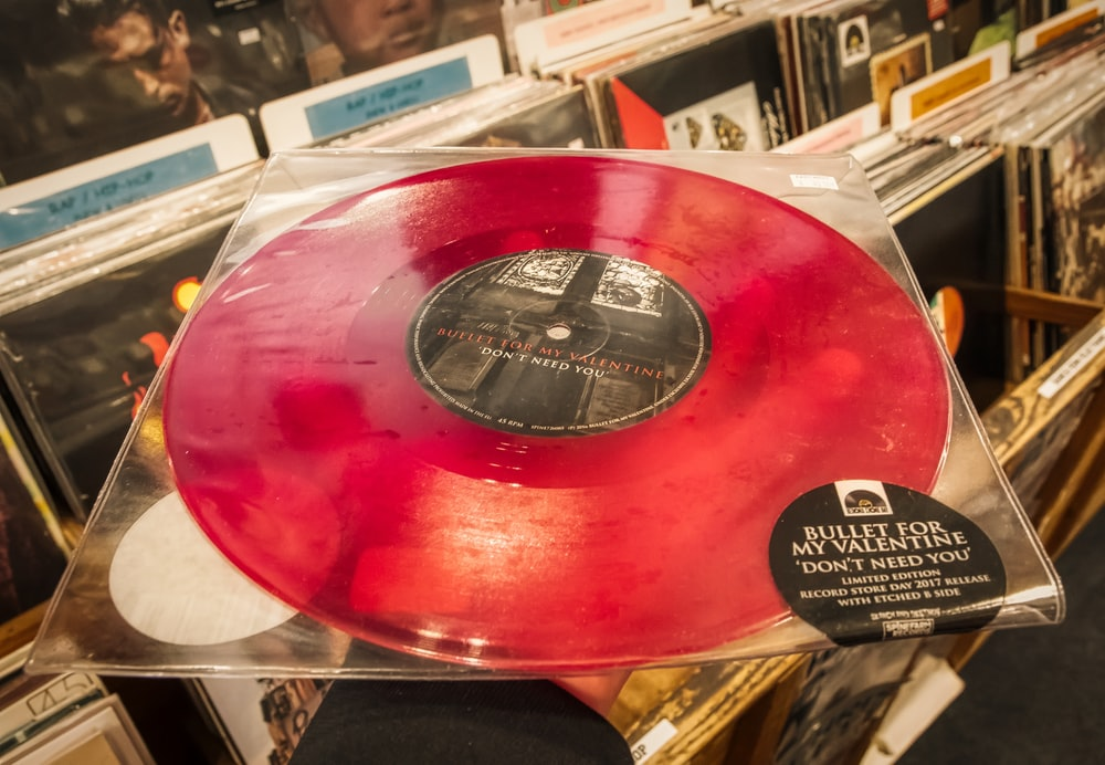 red and black vinyl record