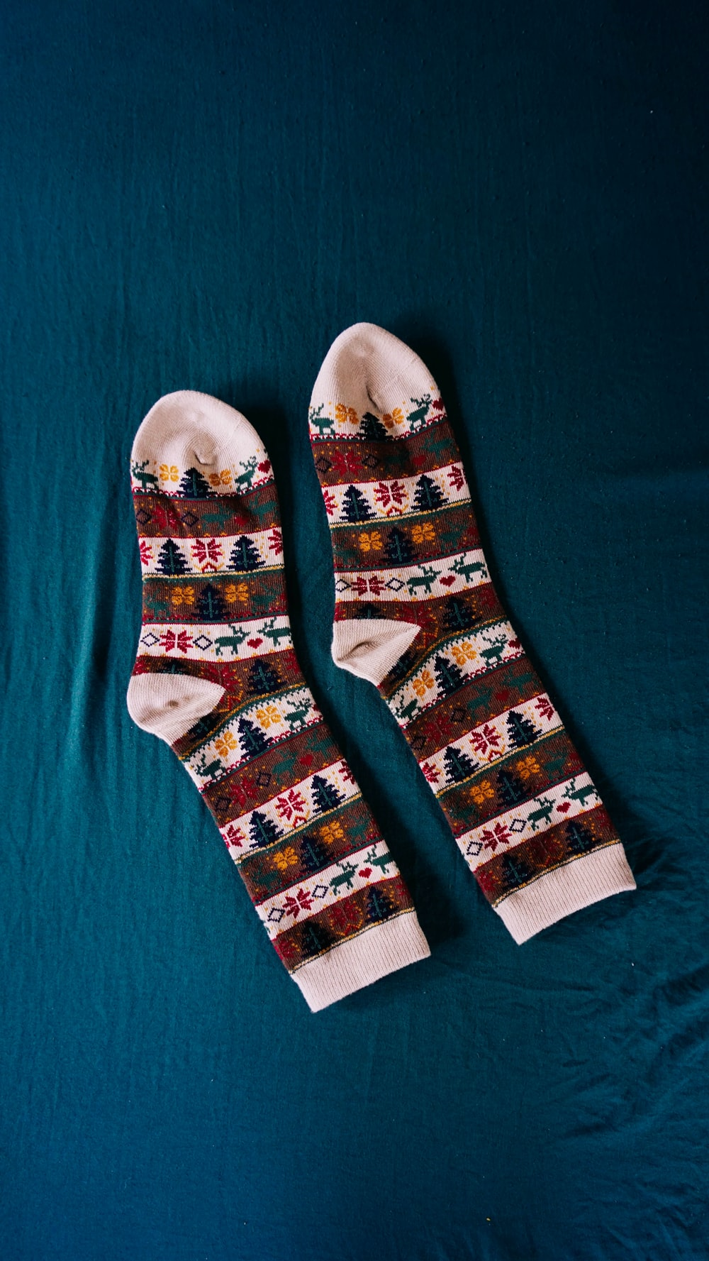 white red and blue socks