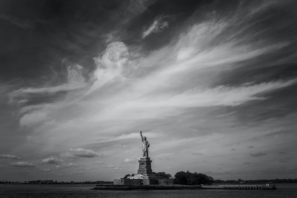 grayscale photo of statue of liberty