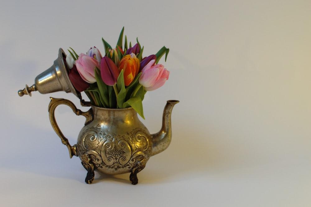 gold and pink floral vase