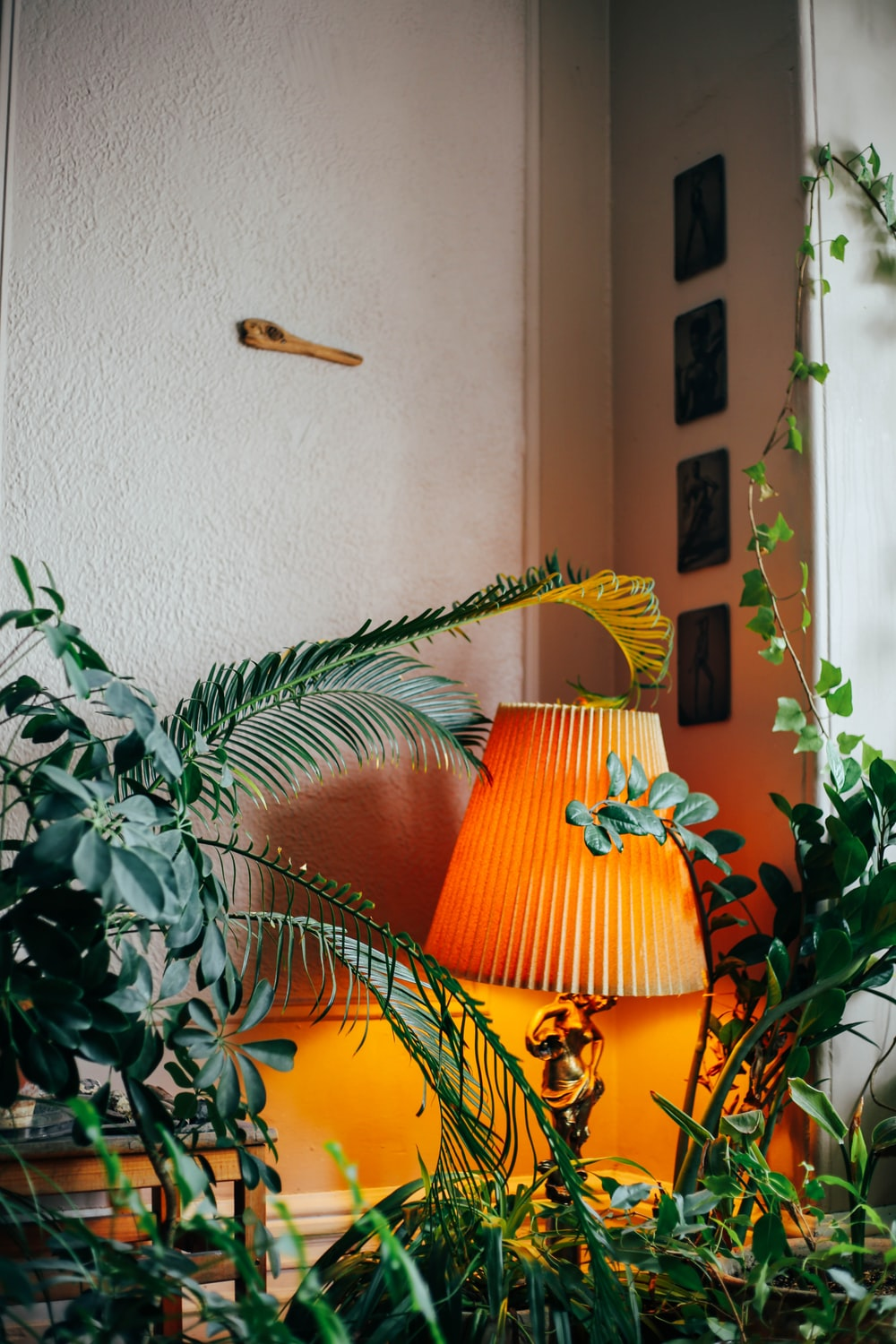 brown and yellow table lamp