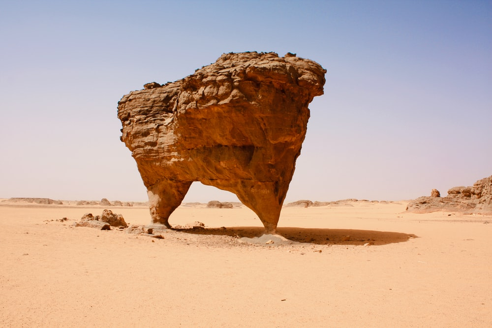 brown rock formation on brown sand during daytime