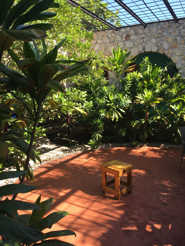 Beautiful courtyard at Lakay Poze in Port Au Prince, Haiti.