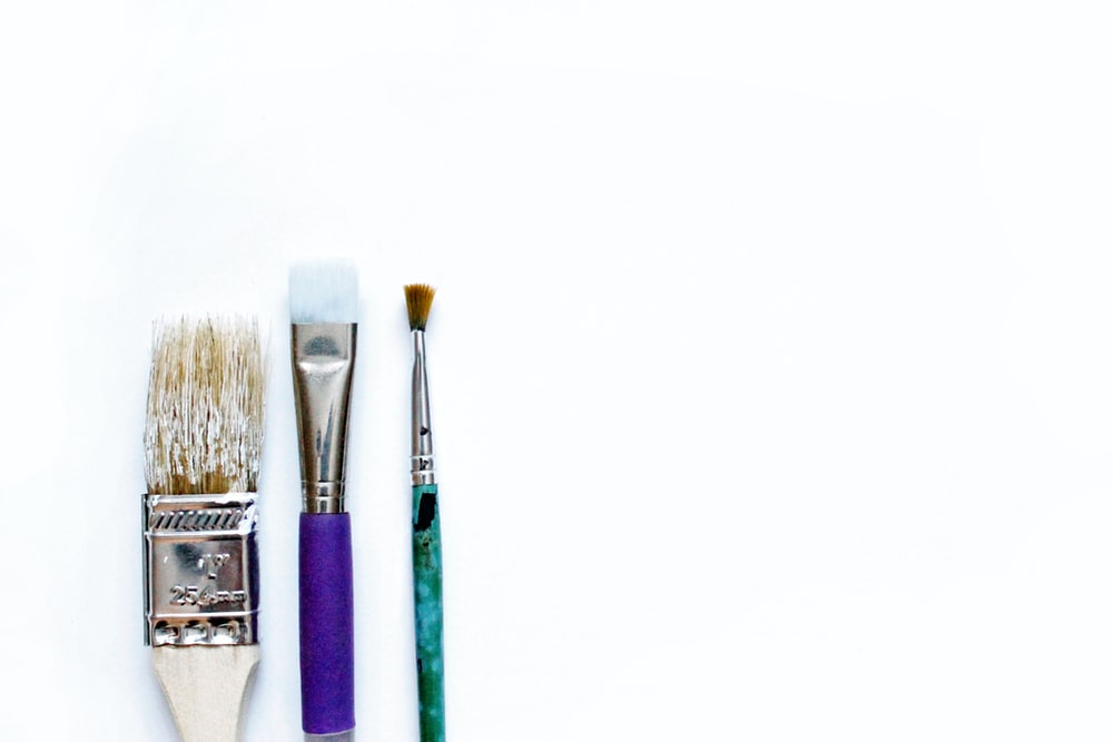 brown and blue makeup brush set