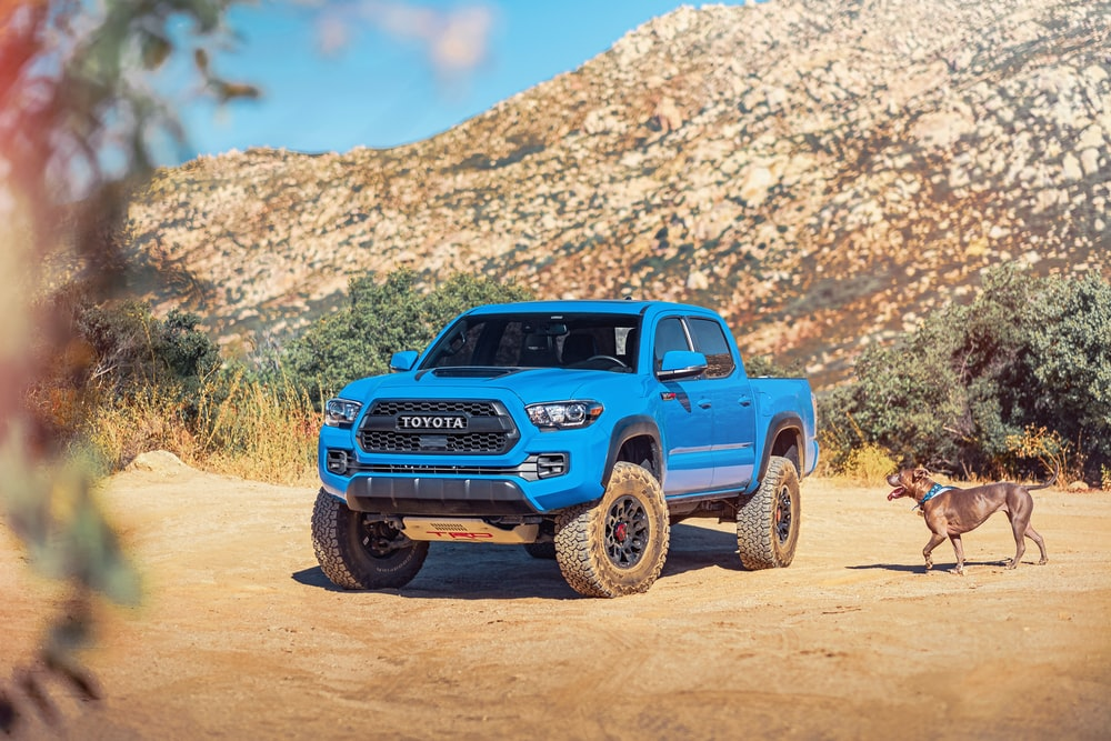 blue suv on brown dirt road during daytime