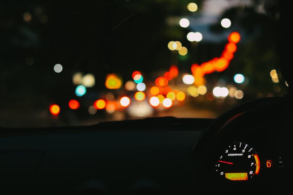 bokeh lights on a car