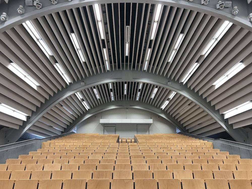 brown and white stadium seats