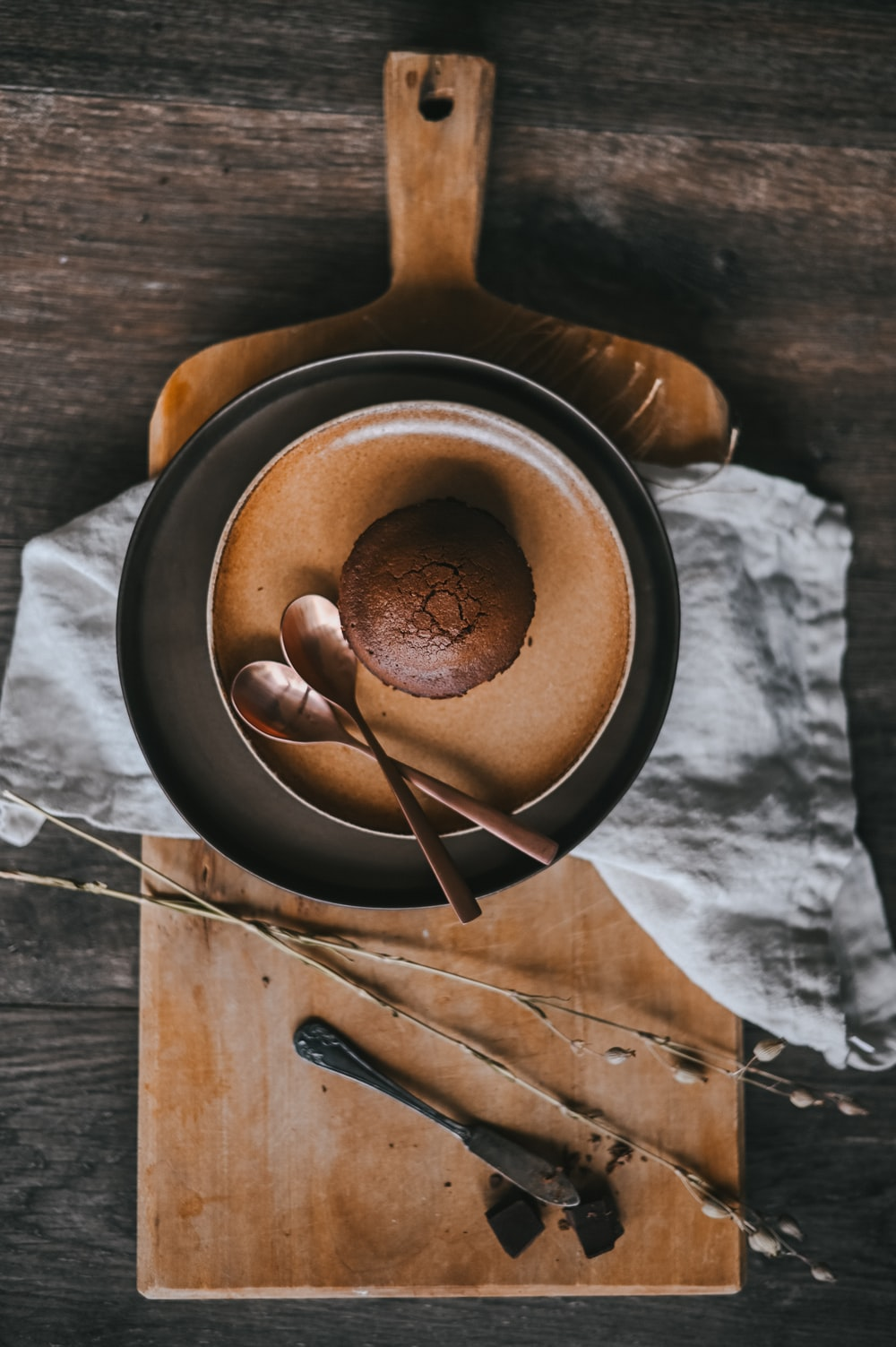 brown wooden ladle on brown round bowl