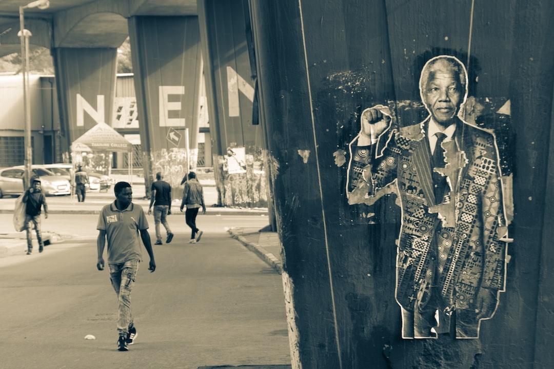 Street scene in Johannesburg with Nelson Mandela poster