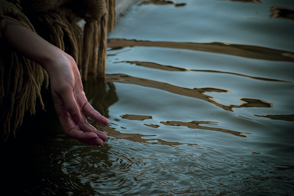 persons hand on water