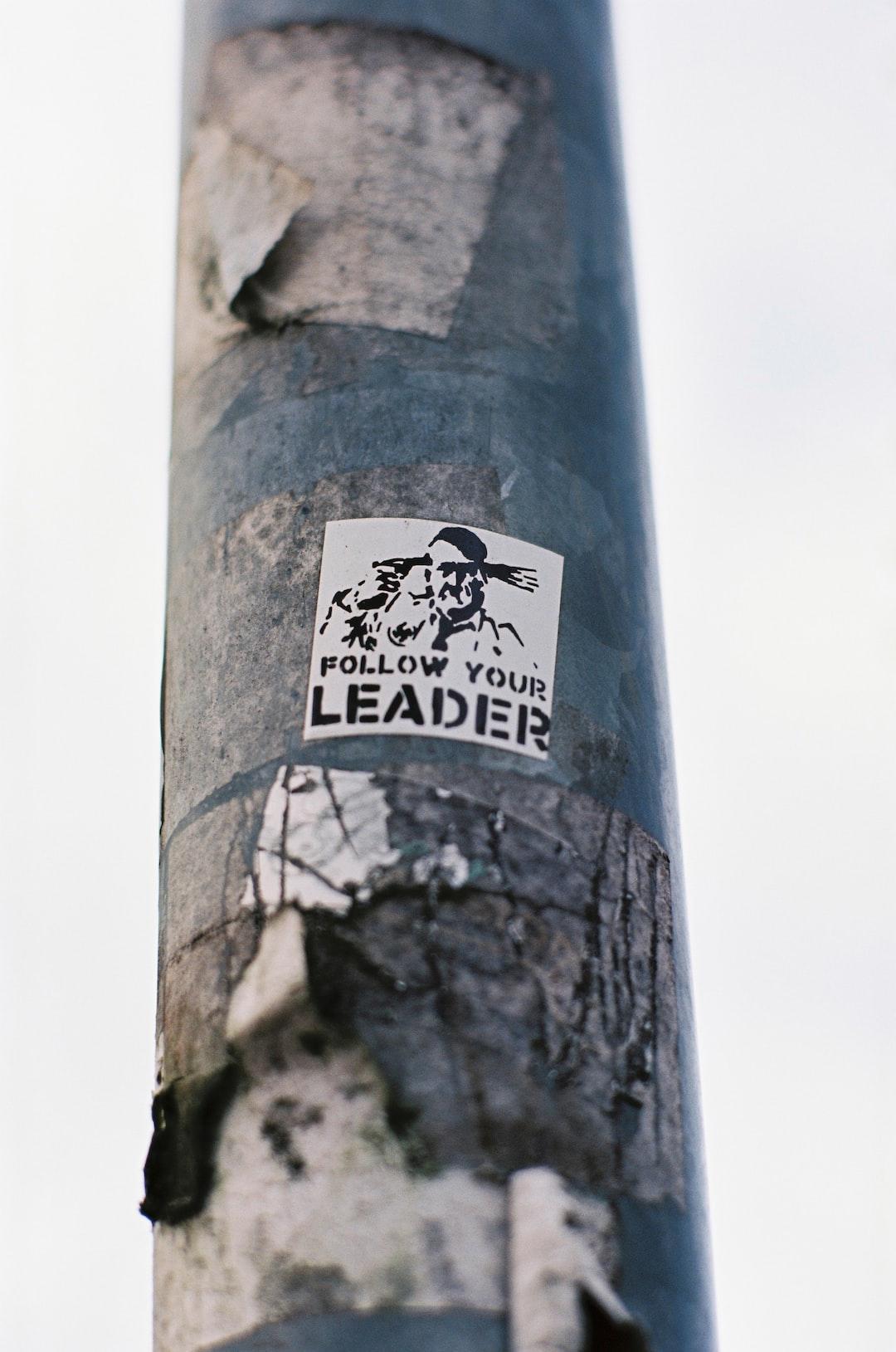 Urban street art –FOLLOW YOUR LEADER. Made with Leica R7 (Year: 1994) and Leica Summicron-R 2.0 90mm (Year: 1981). Analog scan via meinfilmlab.de: Fuji Frontier SP-3000. Film reel: Kodak Ektar 100