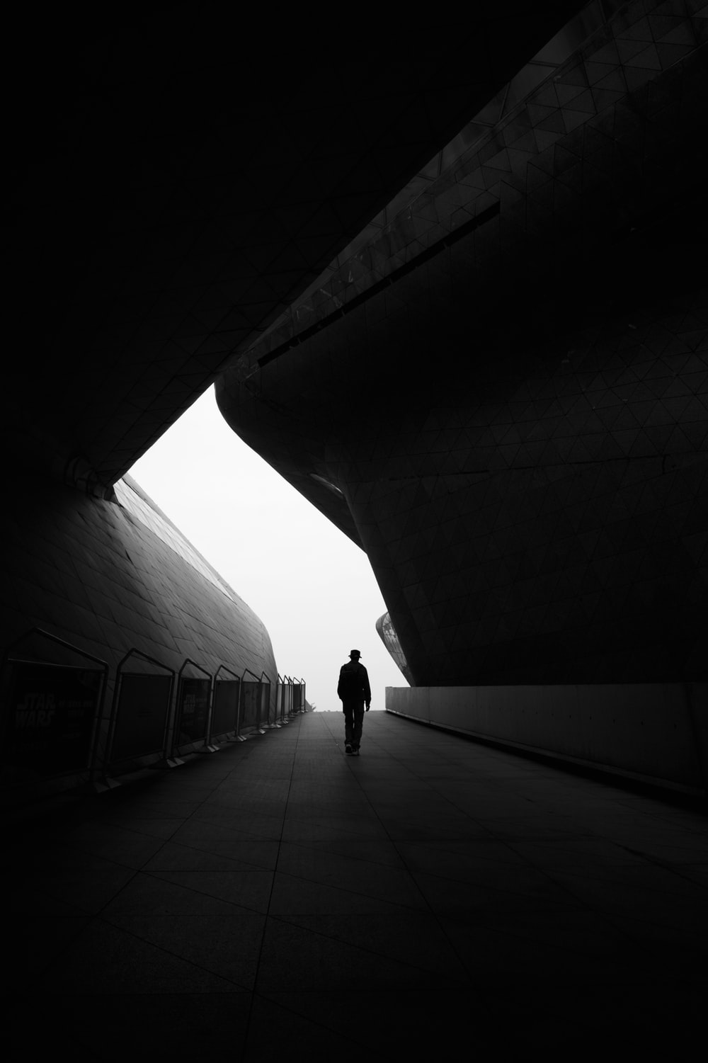 grayscale photo of person walking on pathway
