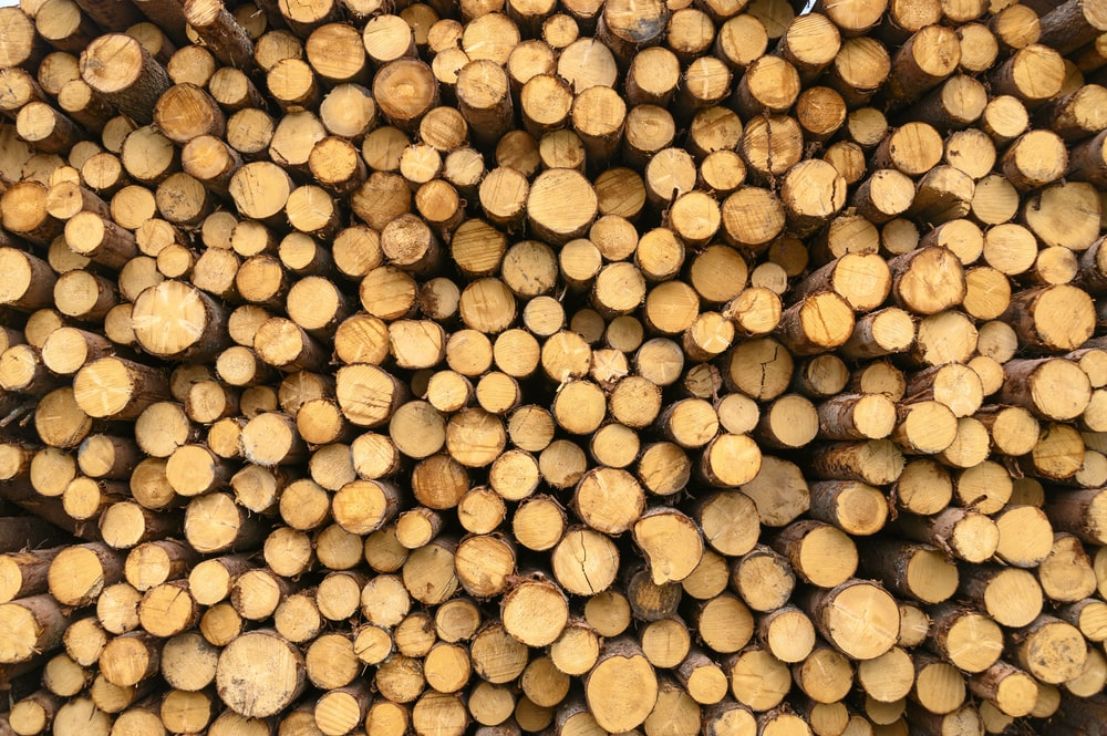 stack of brown wooden logs