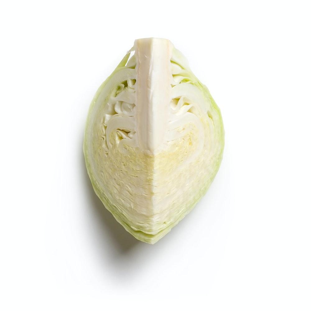 green and white sliced vegetable