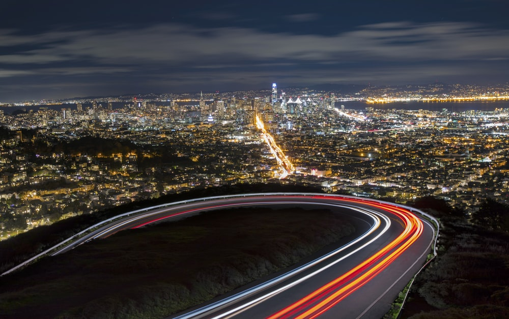 city lights during night time