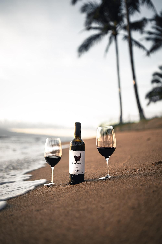 wine bottle on beach shore during daytime