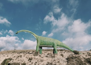 green dinosaur on brown sand during daytime
