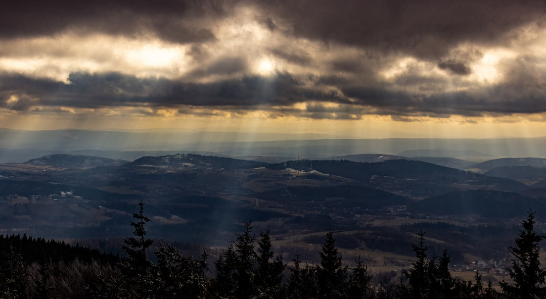 Sun rays breaking through the clouds