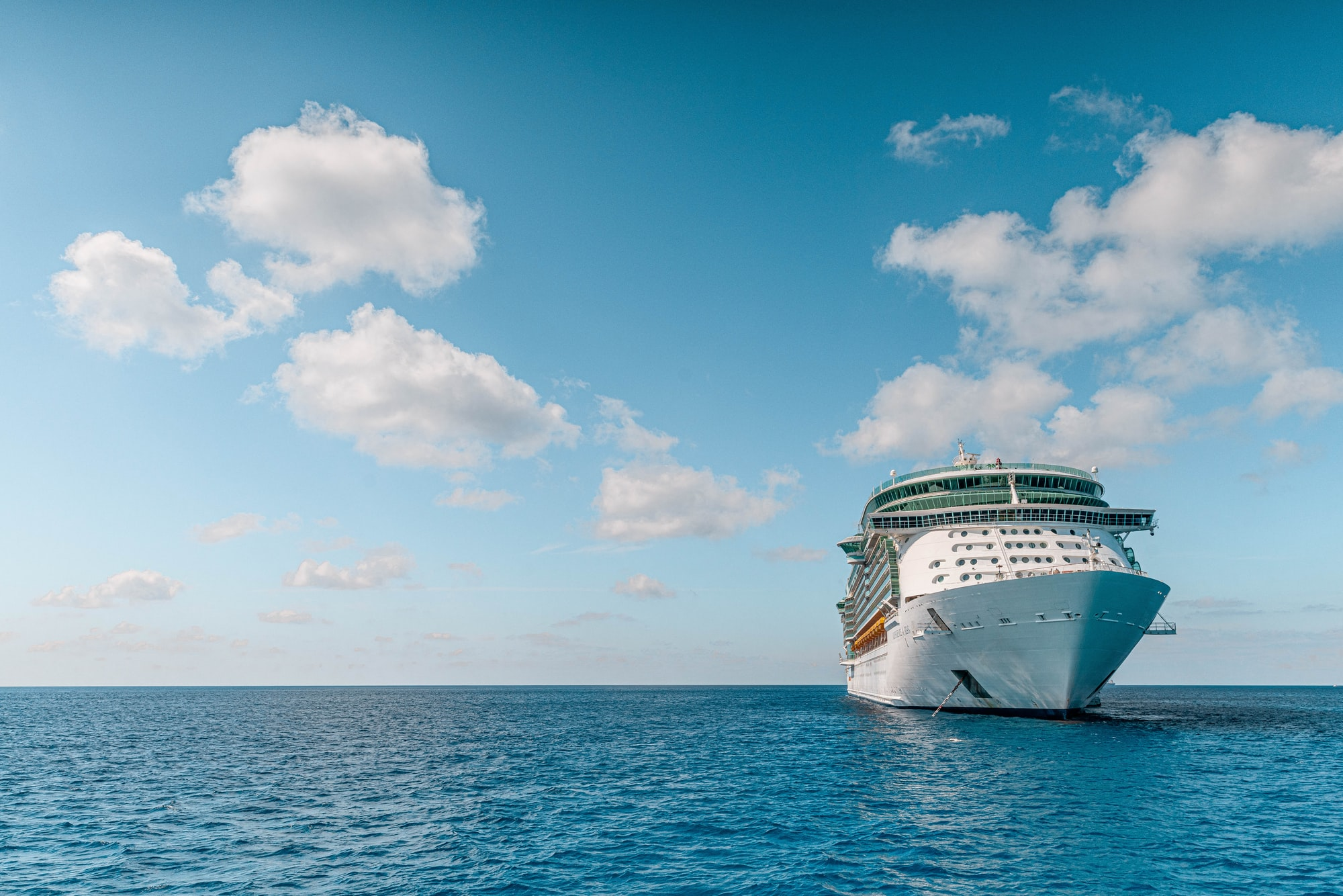 The Independence of the Seas cruise ship off the coast of the Cayman Islands.