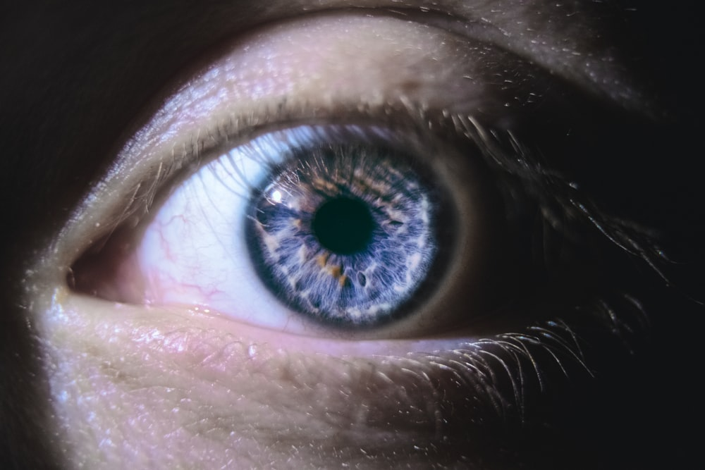 blue and black eye in close up photography