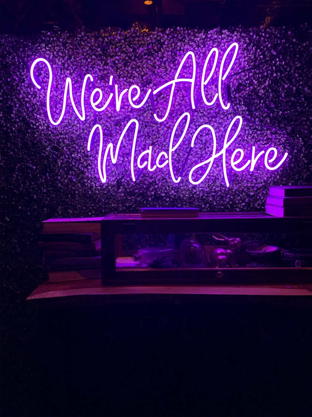 purple and white love me neon light signage