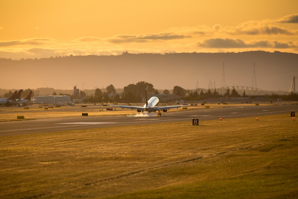 white airplane on the field during sunset