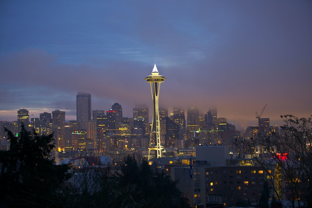 space needle tower during night time