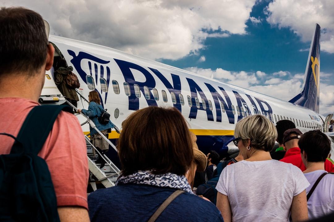 passengers entering a Ryanair aeroplane