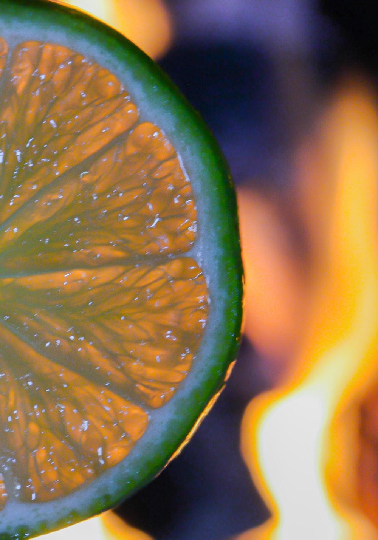 sliced lemon in tilt shift lens
