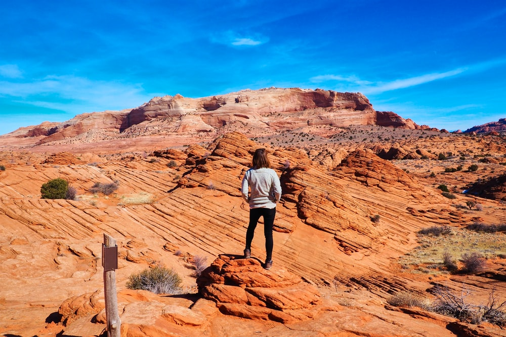 man in white shirt standing on brown rock formation during daytime