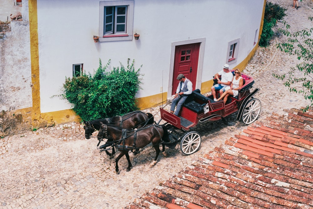 2 brown horses with carriage in front of brown brick building