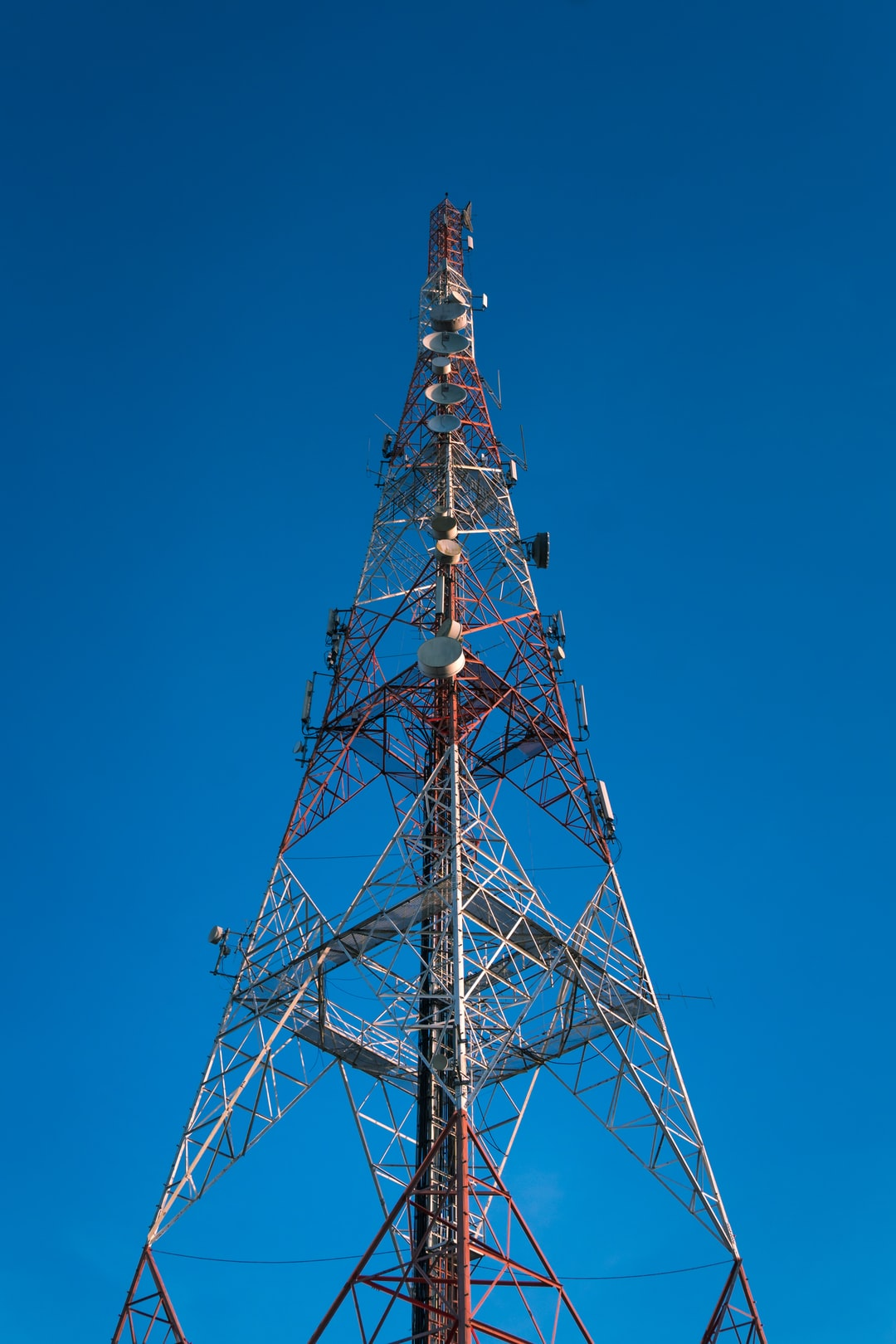 Low angle view of communication tower.